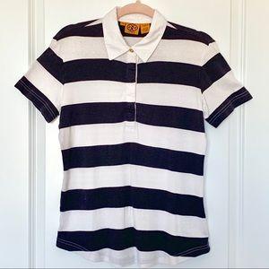 TORY BURCH Navy & White Striped Cotton Polo Shirt